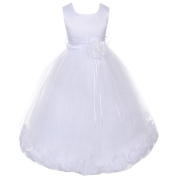 Kids Dream Big Girl's Satin Petal Flower Girl Dress