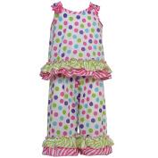 Laura Dare Big Girls Multi Colour Gumballs Bow Ruffle 2 Pc Pyjama Set 10