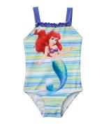 Disney Girl's One-Piece Princess Ariel Striped Tank Swimsuit