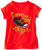 Converse Girl's All Star 1908 Chuck Taylor Firey Coral Short Sleeve T-Shirt Sz 5
