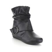 Link Selena-63K Children Girl's Comfort Buckle Deco Flat High Top Ankle Booties,Black,3