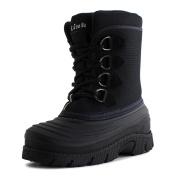 Link Rain 36K Lined Lace Up Winter Snow Boots Black,Black,10