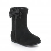 Little Angel Zoe-797 Toddler Girls Faux Suede Stiching Round Toe Boots,Black,9