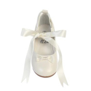 Lito Girls Ivory Satin Ribbon Ballerina Flats Occasion Dress Shoes 13 Kids