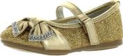 Little Angel Girls Teshi-729D Toddler Girl's Glittering Middle Strap Studded Dress Flats,Gold,3