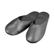 Winn International Size Large Mens Leather Travel Slippers with Case, Black