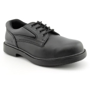 Genuine Grip Footwear Men's Slip-Resistant Steel Toe Oxford,Black Leather,US 11.5 W