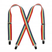 CTM® Infants Elastic 2.5cm Wide Clip-End Rainbow Stripe Suspenders, Rainbow