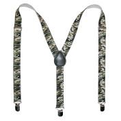 CTM® Mens Elastic Urban Camouflage Clip-End Suspenders, Green