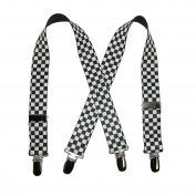 CTM® Infants Elastic Clip-End 2.5cm Chequered Suspenders, White