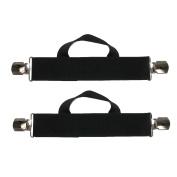 CTM® Mens Elastic Anti Slip Pin Clip Biker Stirrup Straps, Black