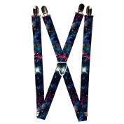 Buckle Down Unisex Elastic 2.5cm Wide Clip-End Galaxy Collage Suspenders