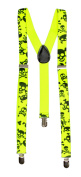 Giant Skull 3 Clip Stretchable Suspenders- Yellow
