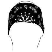 ZANheadgear Polyester Headband with Black Paisley Design