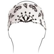 ZANheadgear Polyester Headband with White Paisley Design