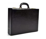 Tony Perotti Mens Italian Bull Leather Amalfi Leather Attache Case with Dual Combination Lock, Laptop Compatible in Black