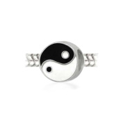Bling Jewellery Yin Yang 925 Sterling Silver Inspirational Bead.