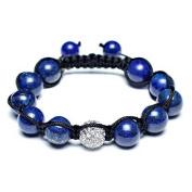 Bling Jewellery Patriotic Simulated Lapis Lazuli Clear Crystal Shamballa Inspired Bracelet 12mm