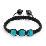 Bling Jewellery Childrens Bracelet Shamballa Inspired Simulated Turquoise Crystal Beads 10mm