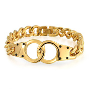 Bling Jewellery Shades of Grey Handcuff Bracelet Gold Plated Steel