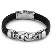 Men's Stainless Steel Antique Braided Leather Bracelet