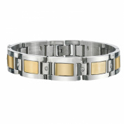 Men's Diamond Bracelet in Yellow Plating Stainless Steel 22cm