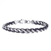 Men's Two Tone Stainless Steel Wheat Chain Bracelet
