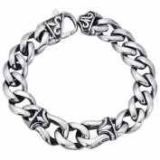 Men's Curb Link Bracelet in Stainless Steel 22cm