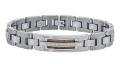Men's Tungsten and Stainless Steel Diamond Bracelet