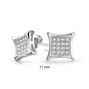 Bling Jewellery Mens Sterling Silver Kite Micro Pave Clear CZ Stud Earrings 11mm