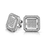 Bling Jewellery Sterling Silver Double Box Pave CZ Stud Earrings 12mm
