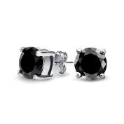 Bling Jewellery Mens Unisex CZ Round Black Stud Earrings 925 Sterling Silver 8mm