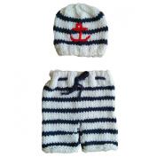 Jastore® Photography Prop Baby Crochet Navy Stripe Costume Hat Pants