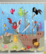 Ambesonne Baby Nursery Decor Collection, Ocean Octopus Treasure Sunken Ship Pirate Sail Boat Ahoy, Polyester Fabric Shower Curtain Gifts for Boys Bathroom, Blue Red Yellow Black Purple Green Brown