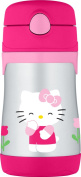 THERMOS Vacuum Insulated Stainless Steel 300ml Straw Bottle, Hello Kitty