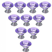Dresser Knobs, YIFAN 10Pcs 30mm Crystal Glass Diamond Shape Cabinet Knobs Cupboard Drawer Pull Handles - Purple