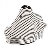 AMAZLINEN . Multi-Use Infant Car Seat Covers,4 In 1 As Baby Seat Canopy Nursing Cover Shopping Cart Cover High Chair Cover,Stretchy Infinity Breathable 360° Coverage,Black and White Pinstripes