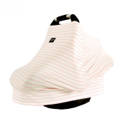 AMAZLINEN . Multi-Use Infant Car Seat Cover,4 In 1 As Baby Car Seat Canopy Nursing Cover Shopping Cart Cover High Chair Cover,Stretchy Breathable 360° Coverage,Pink and White Pinstripes
