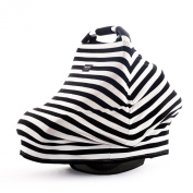 AMAZLINEN . Multi-use Baby Car Seat Cover,4 in 1 as Nursing Cover,Infant Car Seat Canopy,Shopping Cart Cover,High Chair Cover,Stretchy Breathable 360° Coverage,Black and White Stripes
