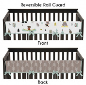 Sweet Jojo Designs Aqua Blue and Grey Outdoor Adventure Long Front Rail Guard Baby Teething Cover Crib Protector Wrap