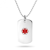 Bling Jewellery Stainless Steel Diabetic Medical Alert Id Dog Tag Necklace 48cm