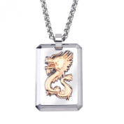 Men's Rose plated Tungsten and Steel Dragon Dog Tag Necklace