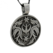 Solid Pewter Crescent Moon Goddess Dragon Pendant W/ Cord Necklace