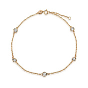 Bling Jewellery CZ by the Inch Rose Gold Plated 925 Silver CZ Anklet 23cm