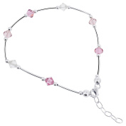 925 Sterling Silver. Crystal Elements Pink and Clear Ankle Bracelet 23cm - 25cm