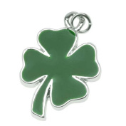 Silver Plated Two Sided Green Four Leaf Clover Shamrock Charm 22mm