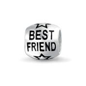 Bling Jewellery Best Friend Star Barrel Sterling Silver Charm Bead Fits Pandora