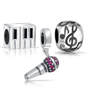 Bling Jewellery Sterling Silver Microphone Piano Music Note Bead Set Fits Pandora