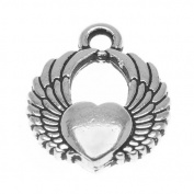 TierraCast Fine Silver Plated Pewter Winged Heart Charm 17.5mm