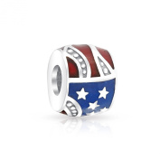 Bling Jewellery Sterling Silver Patriotic Stars Stripes Flag Bead Fits Pandora